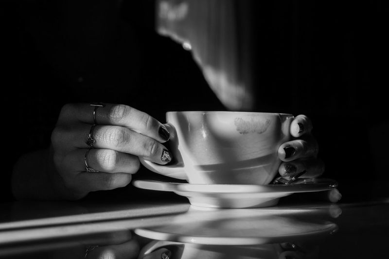 Shadow Hands Black And White Lifestyles Light And Shadow Human Hand Hand One Person Indoors  Focus On Foreground Close-up Cup Ring Jewelry Real People Holding Coffee Cup Women International Women's Day 2019 My Best Photo