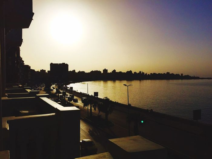 From The Rooftop The Corniche Alexandria Egypt Sunset