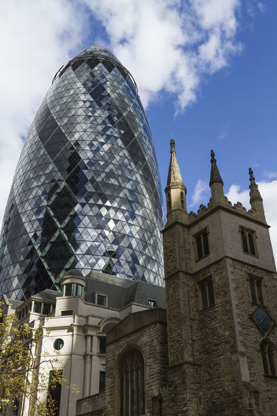 Old and New... Architectural Feature Architecture Building Exterior Built Structure Contrasts Gherkin Tower London Low Angle View Old And New Old And New Architecture Oldandnew TakeoverContrast Travel Destinations