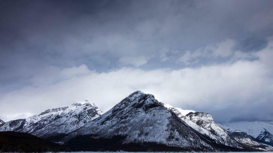 Happy Place EyEmNewHere Banff  Lake Snow Sky Winter Cold Temperature Cloud - Sky Mountain Scenics - Nature Beauty In Nature Snowcapped Mountain Nature Mountain Peak Landscape