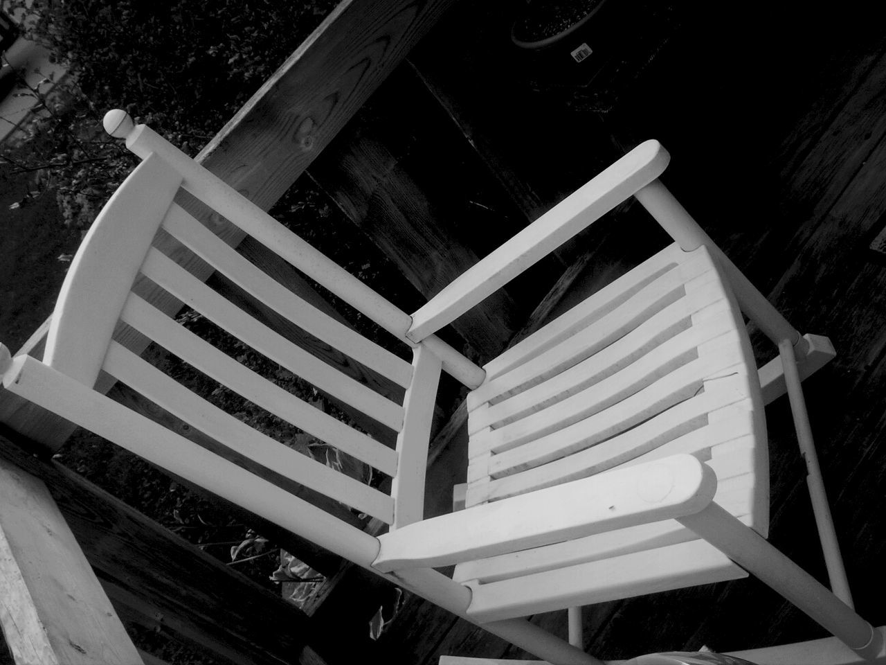 high angle view, wood - material, day, no people, outdoors, chair, close-up