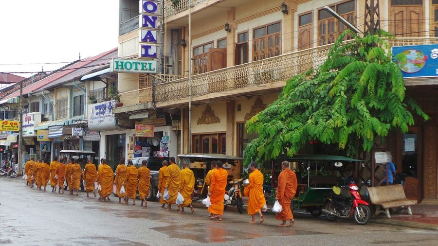 Architecture Asian Culture Boys Buddhist Buddhist Monks Building Exterior Buildings Cambodia Lifestyles Monks Orange People Walking  Rickshaws Street Street Photography Youth Religion Group Of People Culture And Tradition City Street