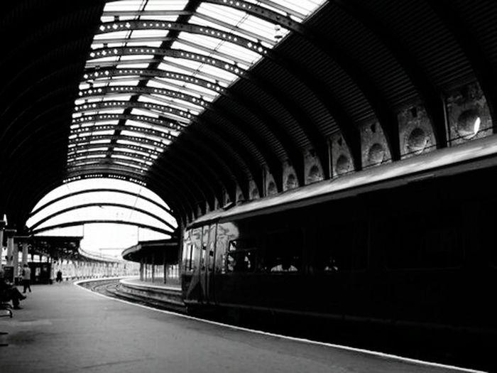 Train station, UK, probably York. July 2005. Blackandwhite Photography EyeEm Best Shots - Black + White Train Station Trainporn Trainphotography Learn & Shoot: Leading Lines