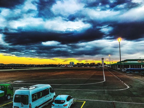 Iphone7photography Cloud - Sky Sky Transportation Mode Of Transport Car No People Outdoors Land Vehicle Storm Cloud Nature Sunset Day Havas Adanaairport Airport Adana First Eyeem Photo Multi Colored Raining Season Raining Day