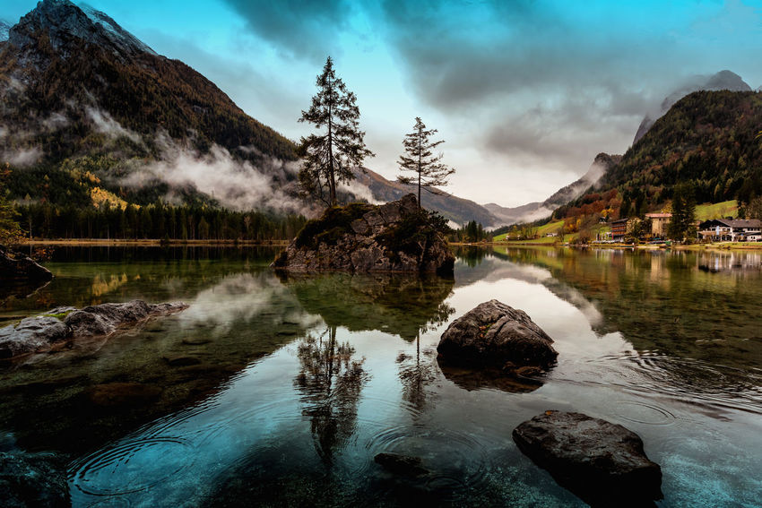 Ramsau, Germany Beauty In Nature Cloud - Sky Day Idyllic Lake Mountain Nature No People Outdoors Reflection Rock - Object Scenics Sky Tranquil Scene Tranquility Tree Water Waterfall