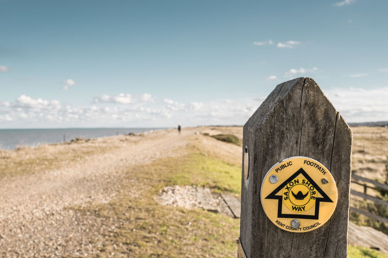 Saxon Way, Coastal Footpath, Sandwich Bay, Kent, UK Saxon Way Public Footpath Sign Sandwich Bay Beach Outdoors Sky Day Nature Focus On Foreground Yellow Sea Close-up Walk Walking Walking Around Kent Seaside Coast Coastal Path