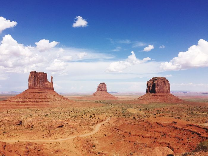 Rock Formations At Monument Valley Against Cloudy Sky