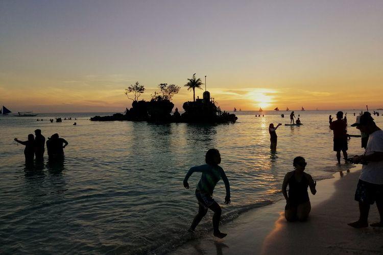 Boracay sunset Water Sea Full Length Sunset Beach Silhouette Nautical Vessel Men Sky Horizon Over Water