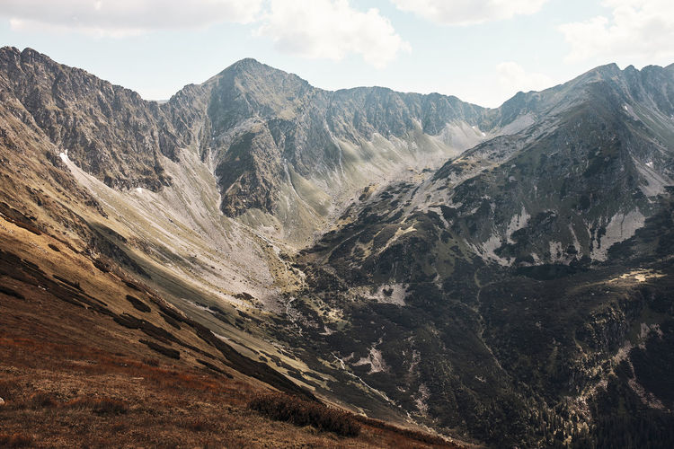 Tatra mountains landscape. scenic view of mountain rocky peaks, slopes, hills and valleys