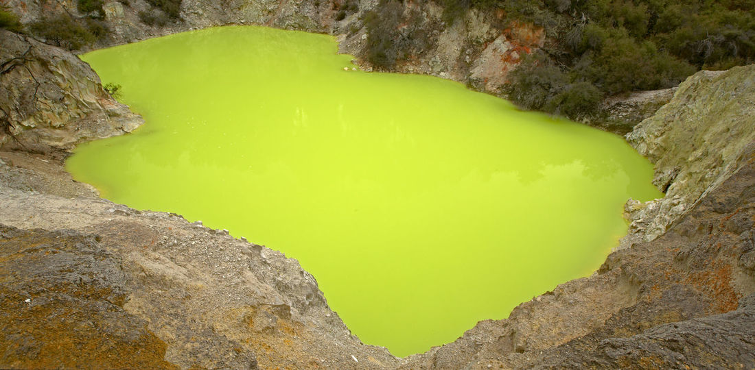 The Devil's Cave Acidic Beauty In Nature Cauldron Dangerous Day Devil Devil's Cave Geology Green Green Color Hazardous Landscape Natural Pattern Nature No People Non-urban Scene Outdoors Poisonous Remote Toxic Tranquil Scene Tranquility Volcanic Landscape Wai-o-tapu Yellow