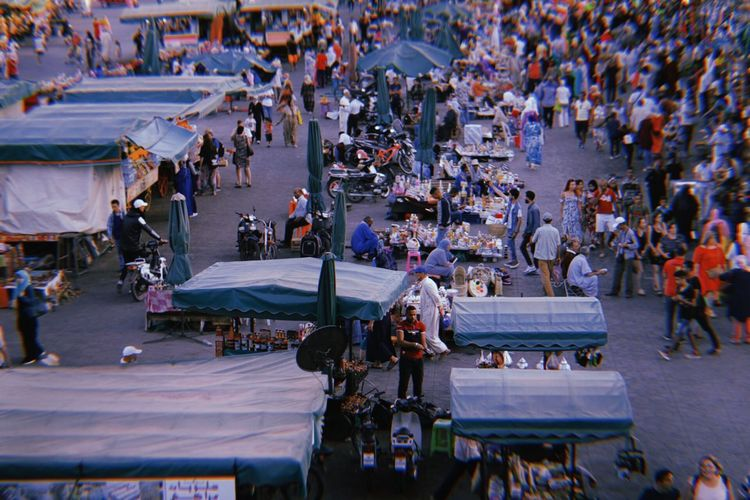 High angle view of people at market