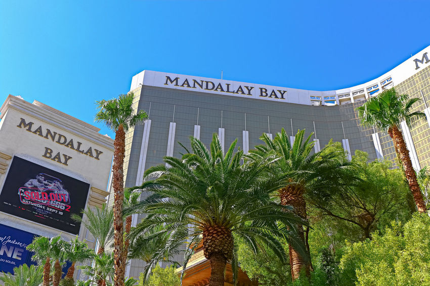 The Mandalay Bay resort and casino,one year after the Las Vegas shooting incident on the Las Vegas Strip. Global Photographer Works Exhibition Image Las Vegas Mandalay Bay Hotel Mandalay Bay Resort & Casino Stock Photo Summertime USA America Blue Sky Global Globaldaily Incident Nevada Photostock Route91 Shooting Stockimage Stockphoto Summer Travel Destinations World