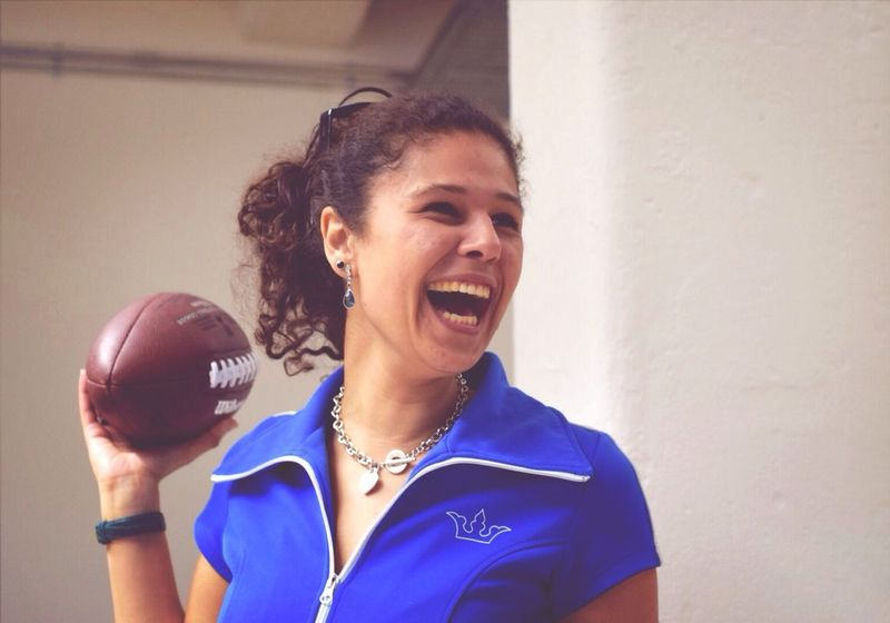 Happy young woman with a football Smile Eyeem Girls Good Catch