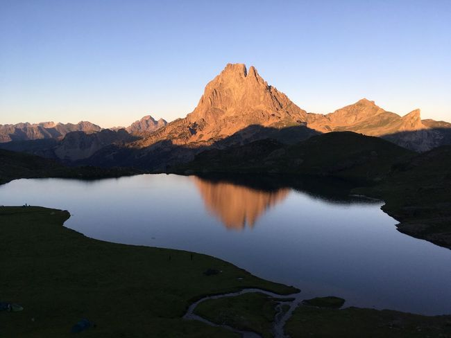 Pic du Midi d'Ossau Mountain Scenics Mountain Range Tranquil Scene Tranquility Nature Beauty In Nature Reflection Water Lake Clear Sky Landscape No People Remote Outdoors Pyrenees National Park Bivouac First Eyeem Photo Breathing Space