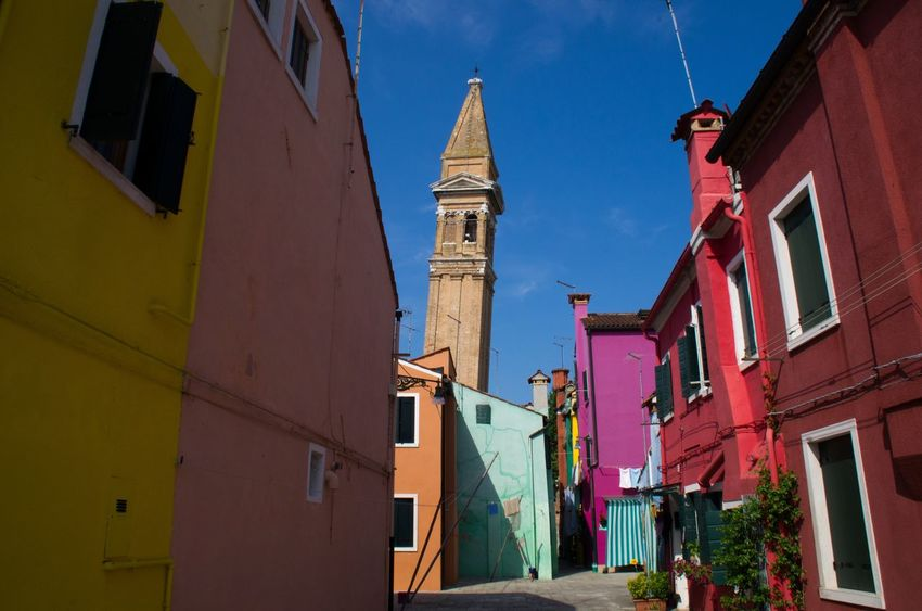 Architecture Bell Tower Building Exterior Built Structure Burano Colourful Day Italy Low Angle View No People Outdoors Painted Houses Sky Tower Travel Venice Venice, Italy