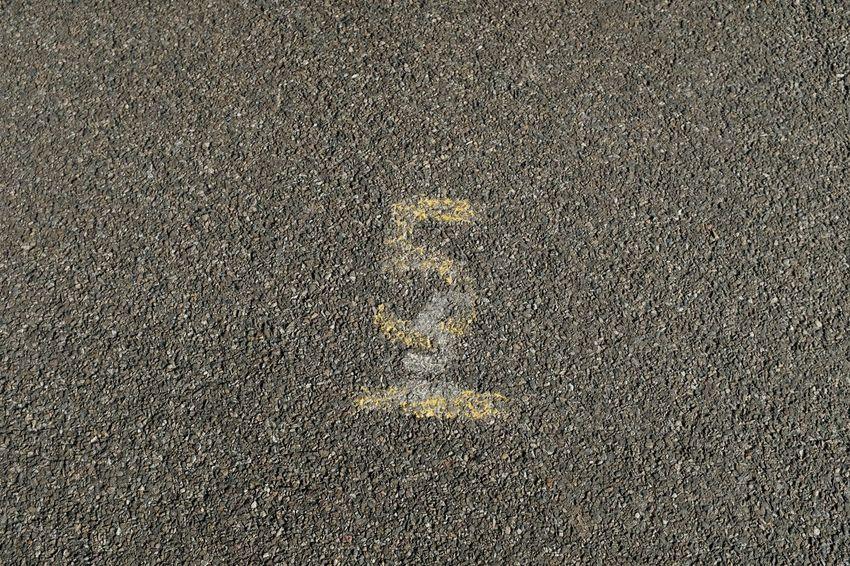 5 5 Number 5 Yellow Backgrounds Full Frame Textured  Pattern Close-up Asphalt Marking Road Marking