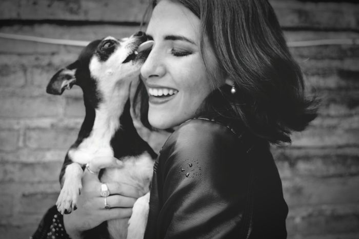 Happiness Togetherness Waist Up Animal Themes Casual Clothing Smiling Day Young Women Real People Friendship Dog Bestfriend Love Blackandwhite 🎈👻