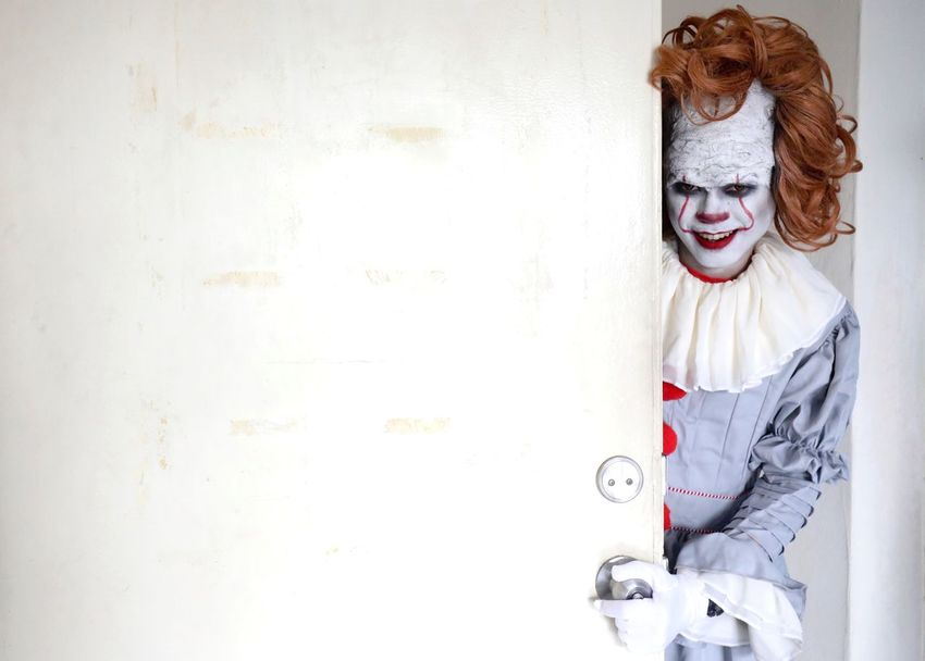 Clown Clown One Person Young Adult Portrait Front View Indoors  Wall - Building Feature Summer In The City Adult Paint Emotion Smiling White Color Copy Space Real People Happiness Architecture Lifestyles Mouth Open Standing Leisure Activity EyeEmNewHere