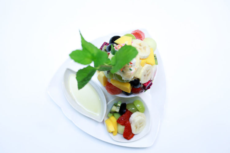 ASIA Asian  Banana Desert EyeEm Best Shots Tropical Fruits Close-up Cold Temperature Focus On Foreground Food And Drink Freshness Fruit Fruits Ice Cream Mix Fruits No People Plate Slice Of Fruit Thai Food White Background White Backround White Plate