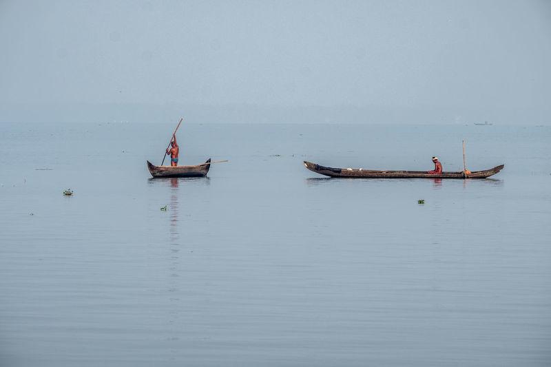 Boatmen Fishermen Landscape Fineart Vocation Chrome Fujifilm_xseries River Backwaters Kerala Morning Job People Nature Sky Only Men