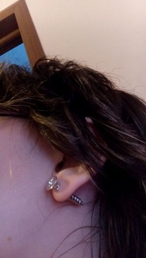 a screw in the ear Earrings Piercings A Screw In The Ear Close-up Human Hair My Ear One Person People шуруп в ухе