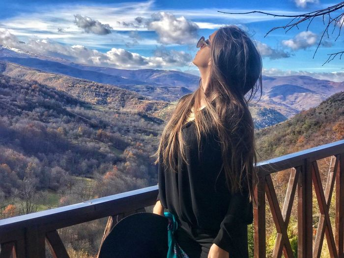Albania EyeEm Best Shots Leisure Activity One Person Lifestyles Real People Nature Cloud - Sky Beauty In Nature Adult Young Adult Young Women Rear View Standing Mountain Day Women Sunlight Hair Hairstyle Railing Sky Autumn Mood Autumn Mood Capture Tomorrow