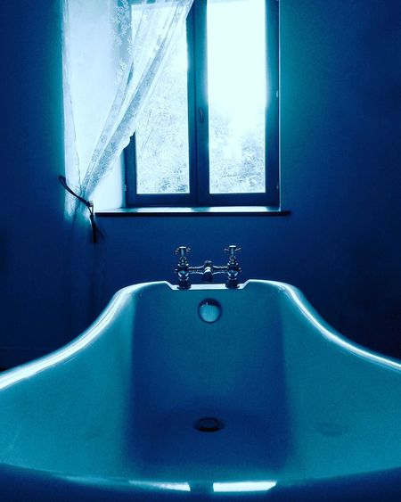 Beautiful deep bath to sink into while looking out to the woods. Domestic Bathroom Bathroom Indoors  Domestic Room No People Faucet Day Blue Blackandwhite Black & White Tranquility Tranquil Scene Escape Peace And Quiet Tap Faucets Breathing Space