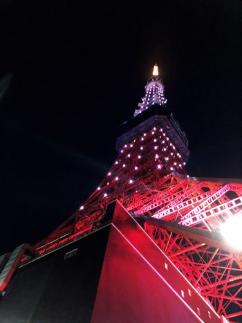 The TokyoTower Illuminated Night Architecture Built Structure Building Exterior No People Low Angle View