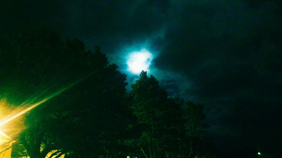 Night Photography The Moon Above Bright Flash Spooky Seaside, Oregon Life At The Beach Cloudy Skies Simply Amazing