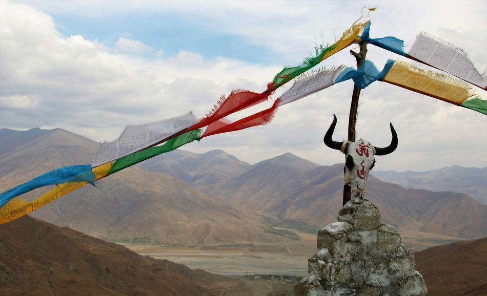 Flag Himalaya Landscape Mountain Mountain Range Outdoors Tibet Travel Tibetan Culture Tibetan Buddhism