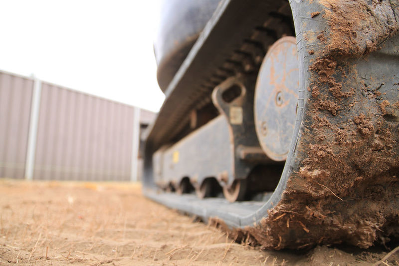 Close-up of mud on construction vehicle