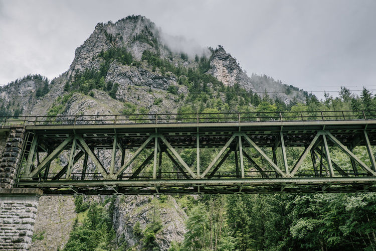 Low Angle View Of Bridge Against Mountains In Forest