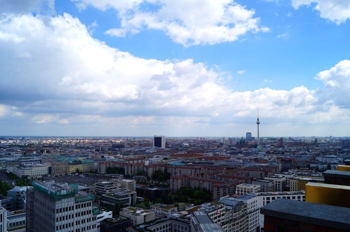 Architecture Cityscape City Built Structure Sky Cloud - Sky High Angle View Outdoors Day Travel Destinations Modern Berlin Classtrip2017
