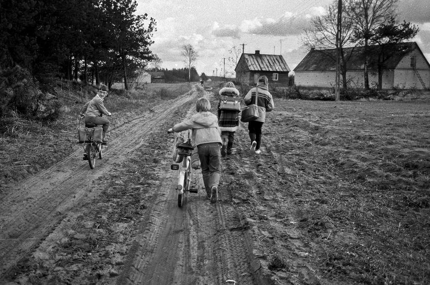 Back Home Bicycle Boys Child Childhood Childhood Friend Country House Country Life Country Road Countryside Countryside Life Friendship Group Of People Leisure Activity Lifestyles Outdoors People PUPILS Real People Rear View Road Rural Scene Togetherness Walking