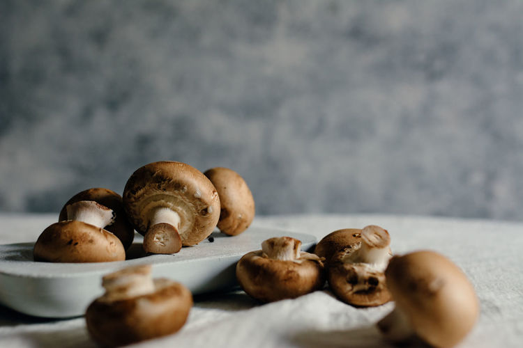 Close-up of mushrooms on table