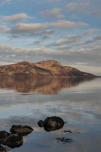 Holy Isle in the sunset light Canon EOS750D Colours Isle Of Arran  Reflection Scotland Sunlight TheWeekOnEyeEM Clouds Holy Isle Isle Sea Sigma 30mm/1.4 Art Sky Stones Sunset Warm Colors Water