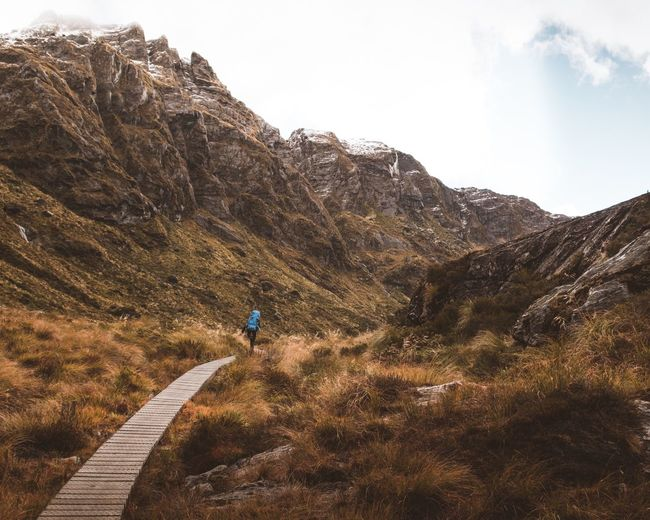 Routeburn Track Loneliness Glenorchy New Zealand Beauty Great Walk National Park South Island New Zealand Vast Landscape_Collection Routeburn Track Calmness Of Nature Hiking Hiking Trail Real People Sky One Person Lifestyles Mountain Leisure Activity Scenics - Nature