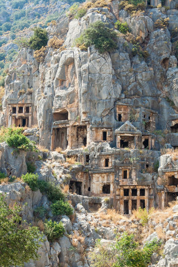 Lycian Tombs in Myra, Turkey, Demre Archeology Demre Turkey Turkey. Demre UNESCO World Heritage Site Ancient Ancient Architecture Ancient Civilization Ancient History Archaeology Architecture Building Exterior Built Structure Day History No People Old Ruin Outdoors Rock Rock - Object Tombs Travel Travel Destinations