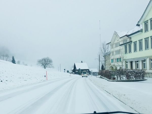 Switzerland❤️ Winter Snow Cold Temperature Weather Road Transportation Car Nature The Way Forward Street Day Clear Sky Architecture Land Vehicle Outdoors Building Exterior Built Structure No People Bare Tree Tree