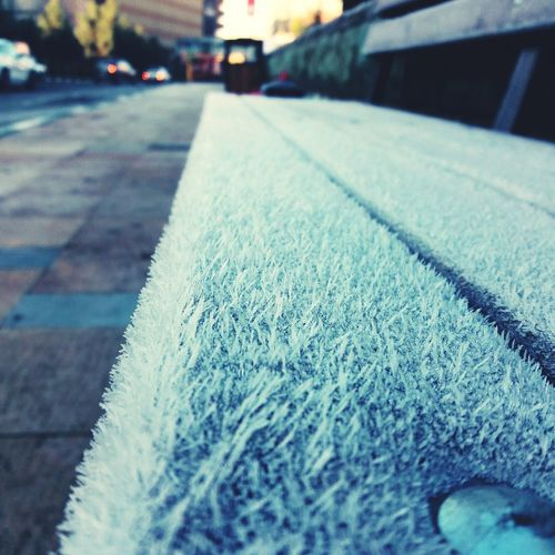 First Eyeem Photo Morning Dew Frozen Bench By The Roadside