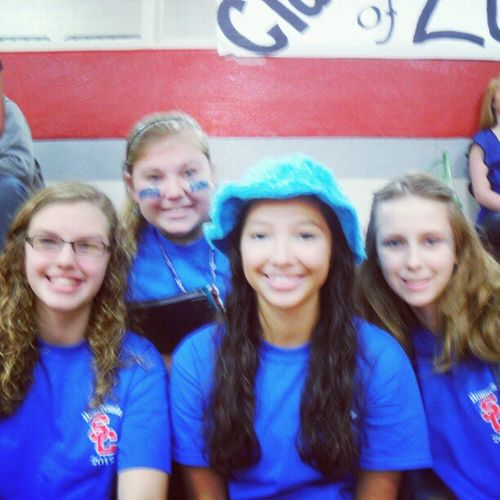 Me, Megan, Gabby, and Anna ! :) Homecoming Blueblueblue Sophmores Colorday @gabriellamckay