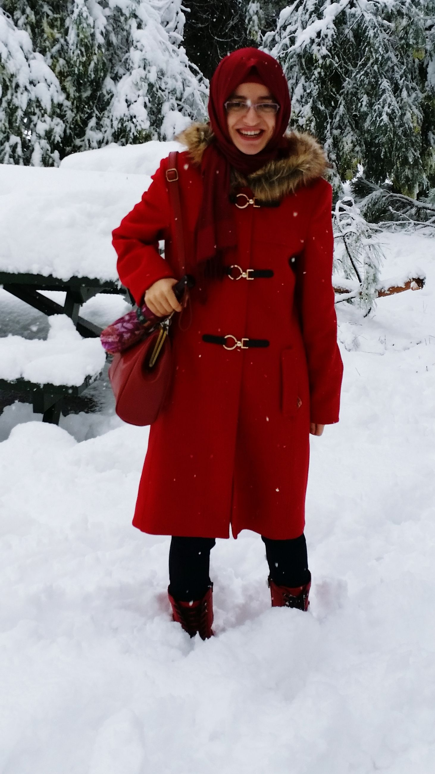 snow, winter, cold temperature, season, weather, warm clothing, red, covering, lifestyles, leisure activity, full length, white color, front view, frozen, portrait, standing, looking at camera, covered