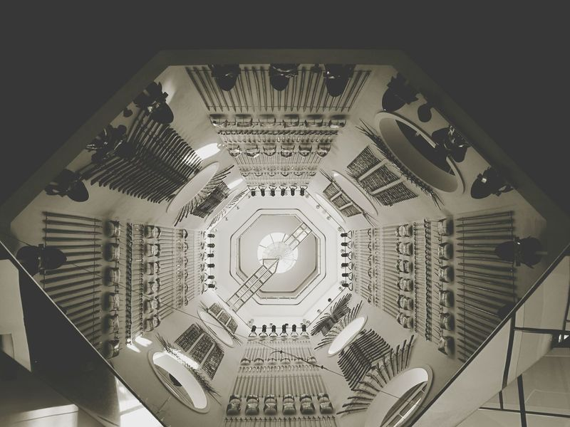 Everything In Its Place Q Royal Armories Leeds Leeds, UK Museum Looking Up Architecture Divided Reflection Mirrors Light And Shadow Fresh 1 Urban Urban Geometry Building Interior Interior Design Interior Monochrome Geometric Shapes Geometry Geometric Abstraction Lines Sections Interior Views