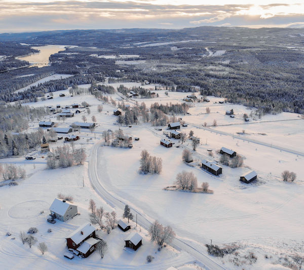High angle view of snow covered rural landscape