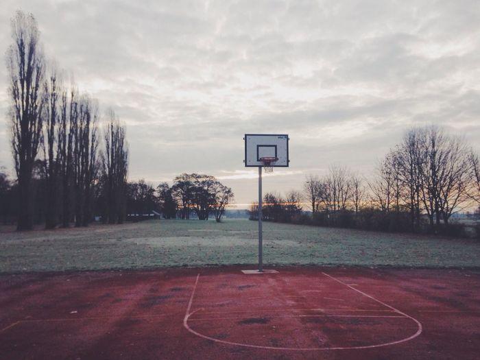 Empty outdoor basketball court