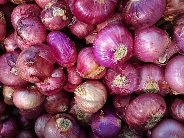 Market Shallot Freshness Vegeterian Purple Backgrounds Full Frame Flower Close-up