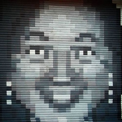Let me know when you see it. Pixels Art Work Mural Artist Picoftheday Factory Newjersey Creative Wallart Face Smile Setlife Production Cantstopwontstop Lovewhatyoudo Dowhatyoulove  Tuesday Infrosmind Blackandwhite Blkwht Black White Nofilter