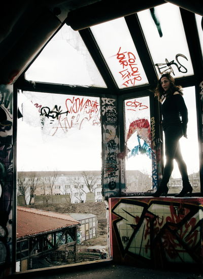 Enjoying The View Urbex Urban Exploration Architecture Portrait Portrait Of A Woman Mood Abandoned Abandoned Places Abandoned Buildings Climbing Standing Tall Wild One Berlin People People Watching Let Your Hair Down Finding New Frontiers