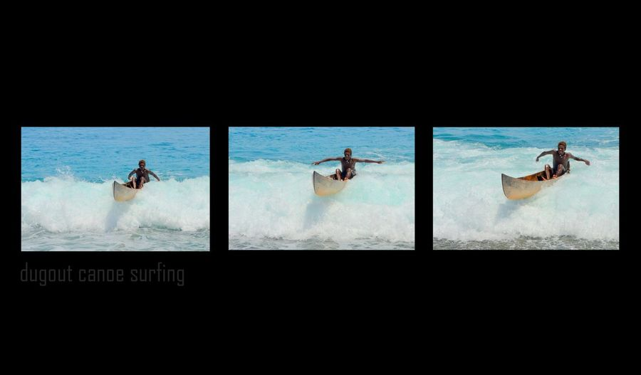 Dugout canoe surfing Happiness Is.... Surf Creative Entertainment Canoe No Outrigger No Paddle Wave Rider Boy In Canoe Weathercoast Guadalcanal Solomons