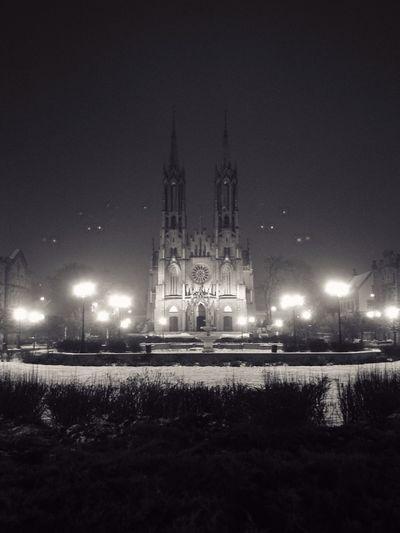 Night Outdoors Illuminated Church Two Towers Żyrardów Sky No People